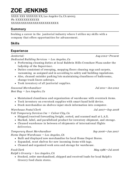 Janitorial resume sample California
