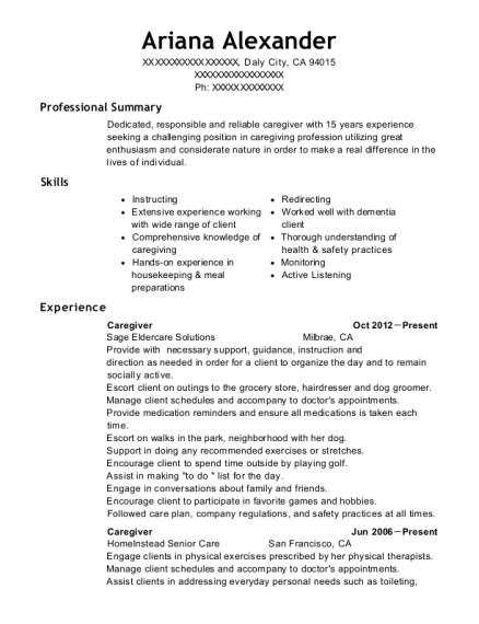 Caregiver resume example California