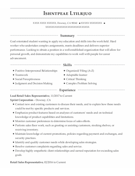 Retail Sales Representative resume template California