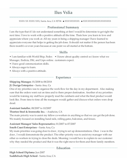 Shipping Manager resume format California