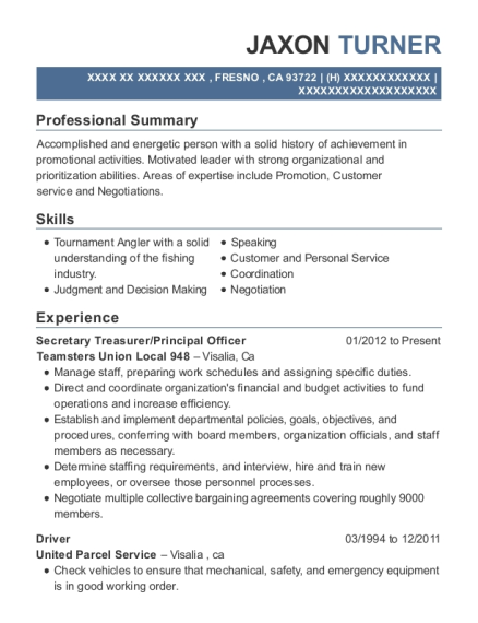 Secretary Treasurer resume sample California