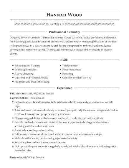 Behavior Assistant resume template California