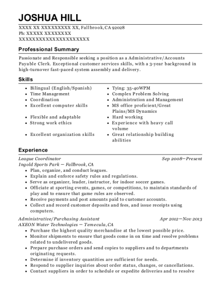 League Coordinator resume template California