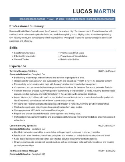 Territory Manager resume format California