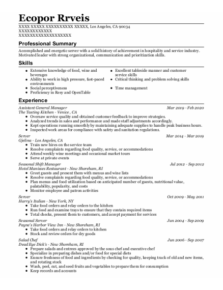 Server resume format California