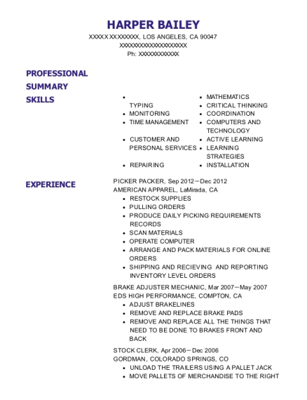 PICKER PACKER resume sample California