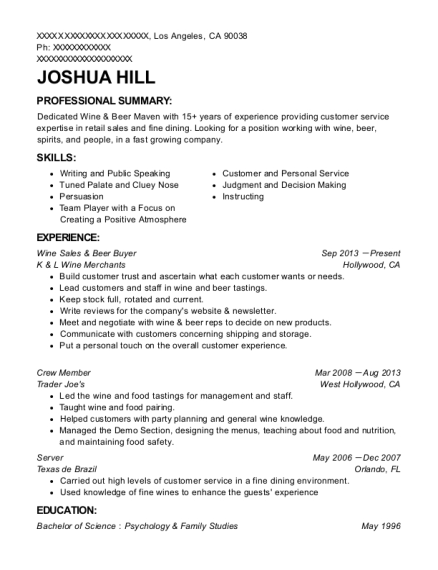 Wine Sales & Beer Buyer resume template California