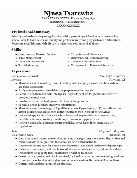 Compliance Specialist resume example California