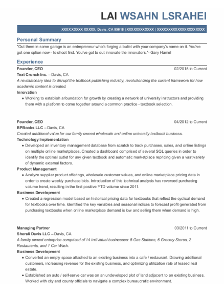 Founder resume format California