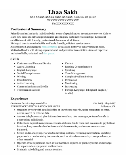 Customer Service Representative resume sample California