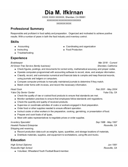 Bookkeeper resume format California