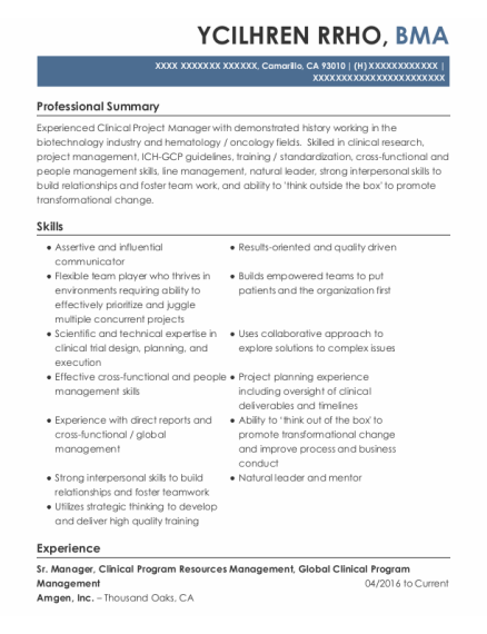 Sr Manager New Partner Development resume example California