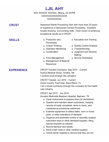 Anesthesia Tech resume sample California