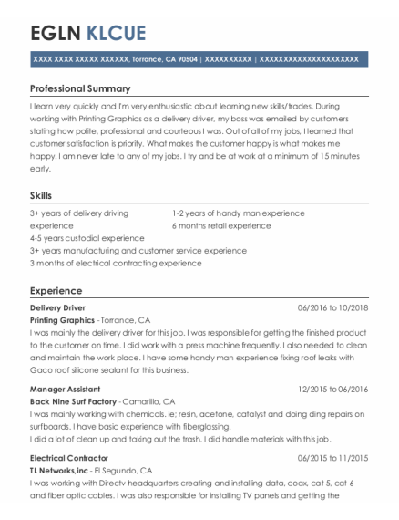 Delivery Driver resume example California