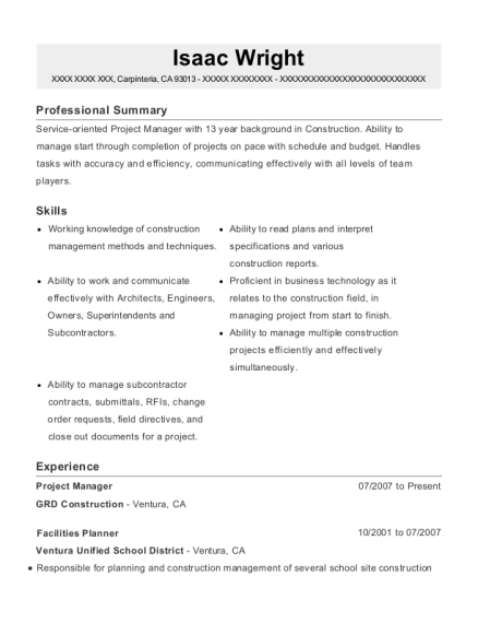 Project Manager resume sample California
