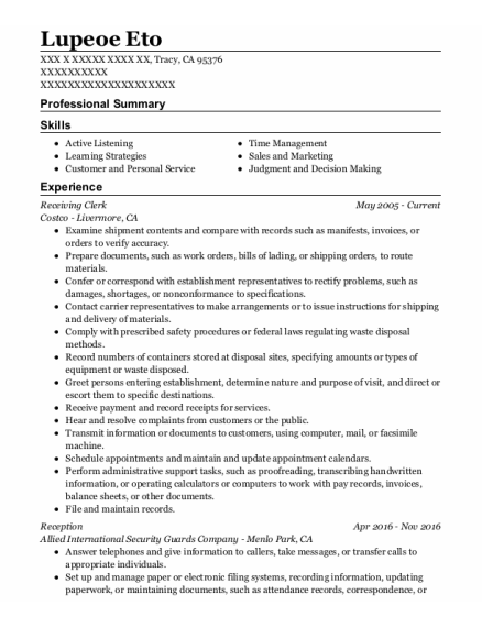 Receiving Clerk resume format California