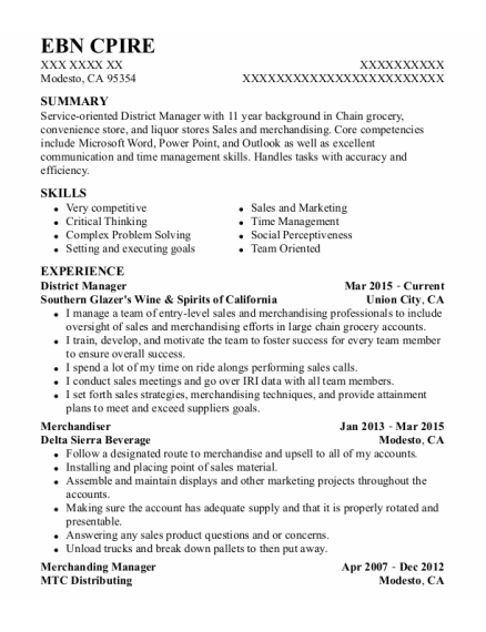 District Manager resume template California