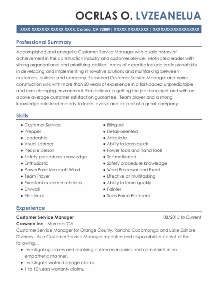 CUSTOMER SERVICE MANAGER resume template California