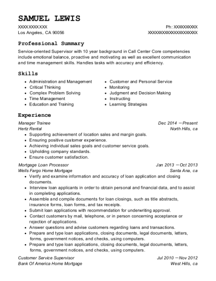 Manager Trainee resume example California