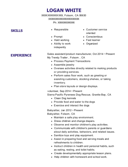 Sales assistant resume sample California