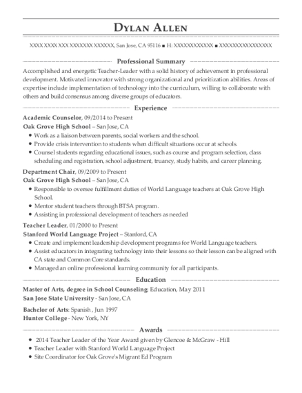 Academic Counselor resume format California