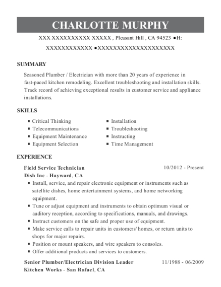 Field Service Technician resume example California