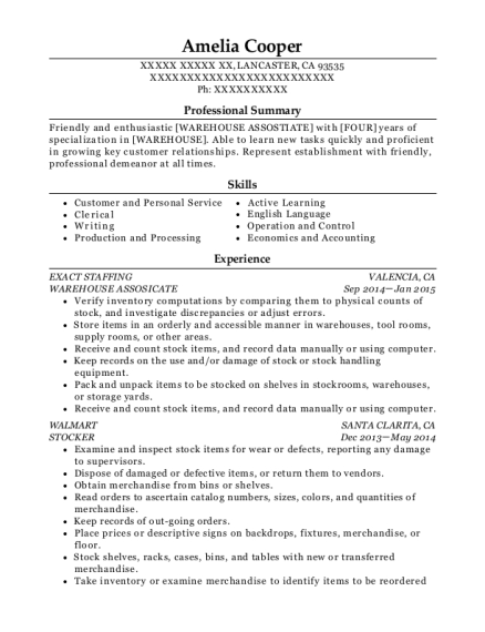WAREHOUSE ASSOSICATE resume template California