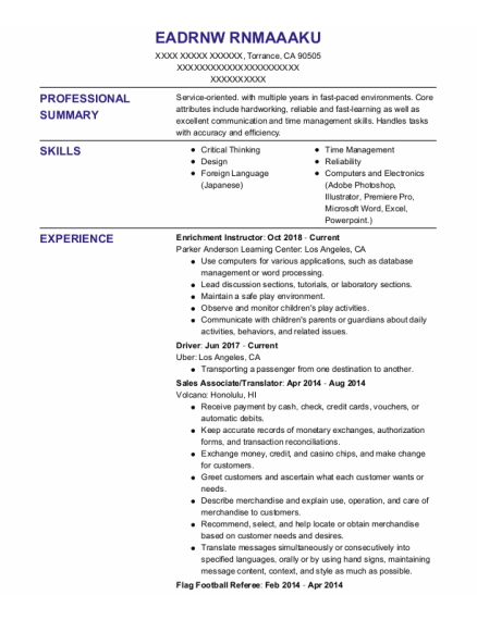 Driver resume format California