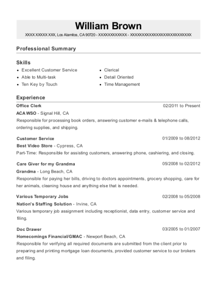 Office Clerk resume example California