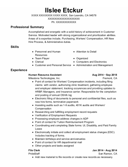 Human Resource Assistant resume template California