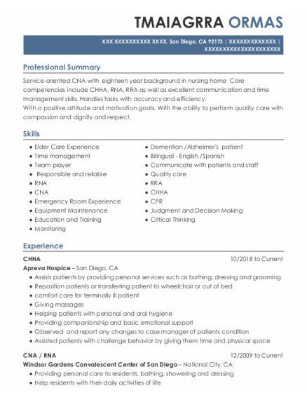 Chha resume format California