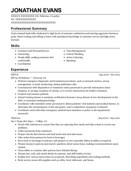 EMT B resume template California