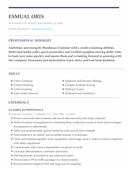 Warehouse Assistant resume example California