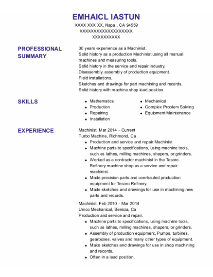 Machinist resume sample California