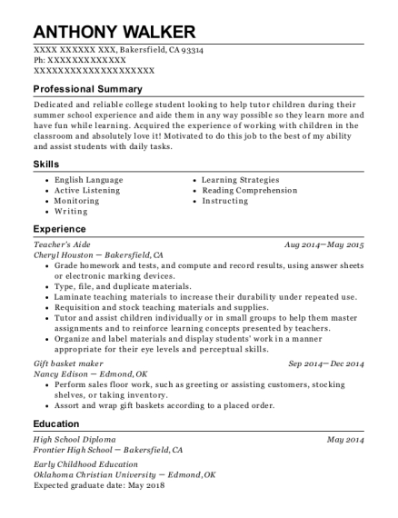 Teachers Aide resume example California