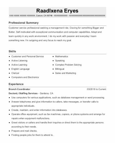Floor Supervisor resume format California