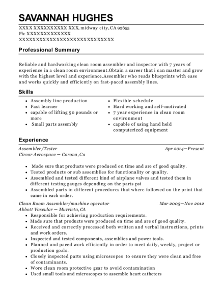 Assembler resume template California