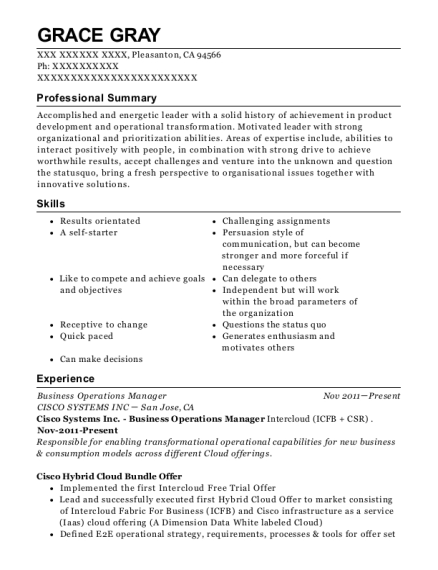 Business Operations Manager resume sample California