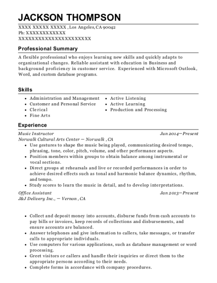 Music Instructor resume example California