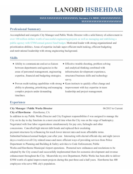 City Manager resume template California