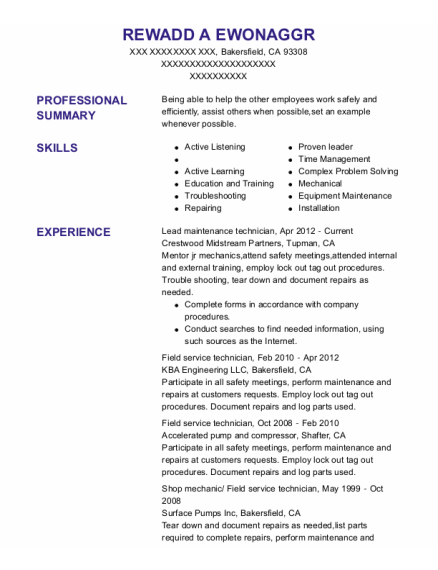 Lead Maintenance Technician resume sample California