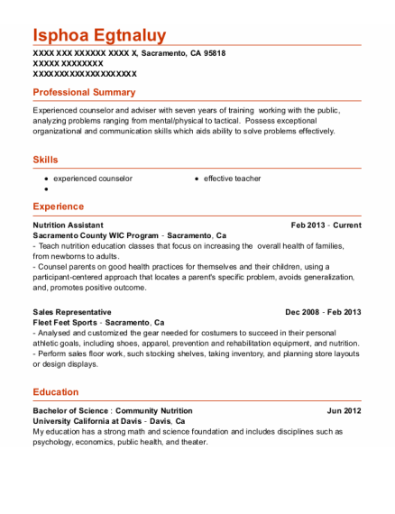 Nutrition Assistant resume format California