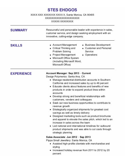 Account Manager resume example California