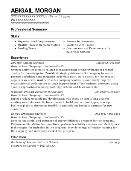 Director resume sample California