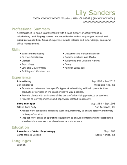 Advertising resume example California
