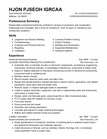 Electrical Technician resume format California