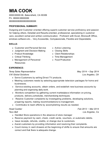 Temp Sales Representative resume example California