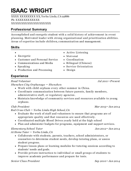 Head Volunteer resume sample California