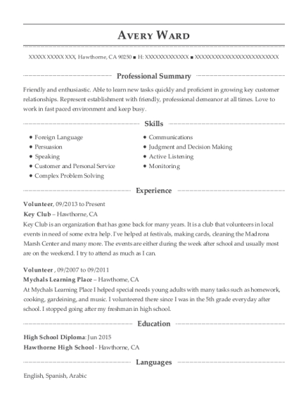 Volunteer resume example California