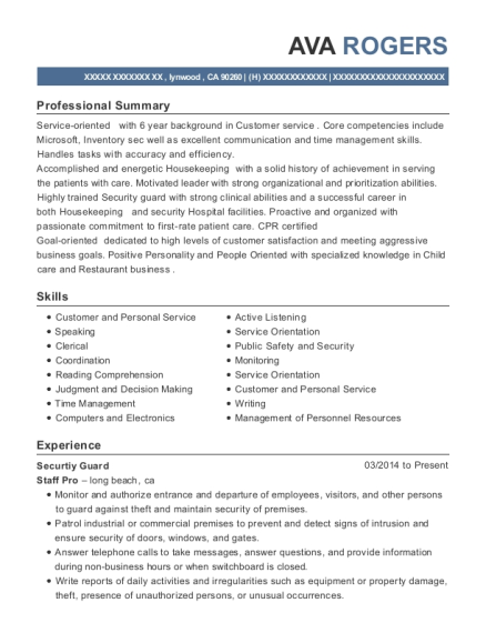 Securtiy Guard resume sample California